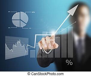 tacto, símbolos, pantalla, financiero