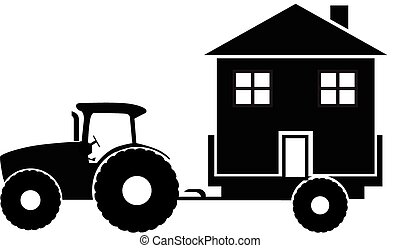 Tactor delivers the house silhouette vector illustration