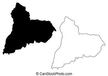 Tacuarembo Department (Departments of Uruguay, Oriental Republic of Uruguay) map vector illustration, scribble sketch Tacuarembo map