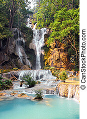 Tad Kuang Si waterfall in forest next to Luang Prabang, Laos
