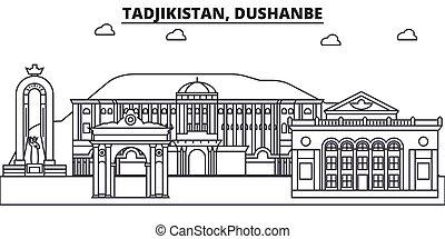 Tadjikistan, Dushanbe architecture line skyline illustration. Linear vector cityscape with famous landmarks, city sights, design icons. Editable strokes