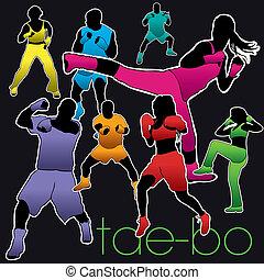 tae-bo, set, silhouette