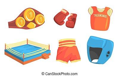 taekwondo, équipement, aine, illustration, tête, kimono, gants, vecteur, garde, poitrine, accrocher, battre, coude, sports, protecteurs, ensemble