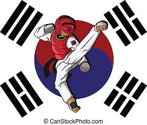 taekwondo., воинственный, изобразительное искусство