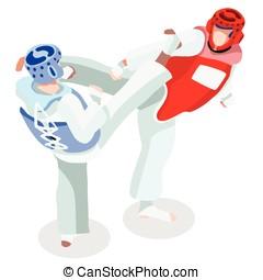 Taekwondo 2016 Sports 3D Isometric Vector Illustration