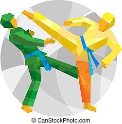 taekwondo, abstract, vechters, twee, motieven
