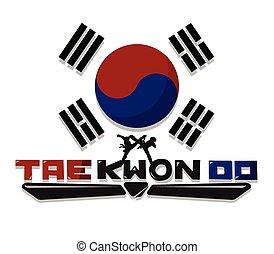 taekwondo, alkot, grafikus, szöveg
