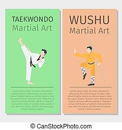 taekwondo, arts., wushu, aziaat, krijgshaftig