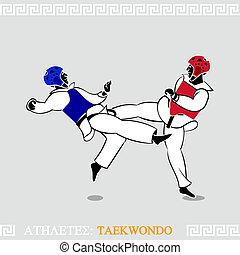 taekwondo, atleta, luchadores