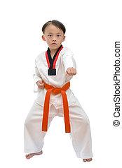 Taekwondo boy uniform in action isolated on white...