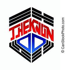 taekwondo, criar, vetorial, logo., ilustração