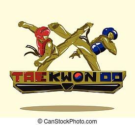taekwondo, diseño, vector, logo.