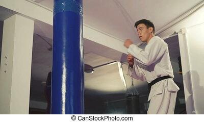 taekwondo, formation, sac, gymnase, kickboxer, frapper