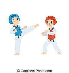 taekwondo, geitjes, vecht