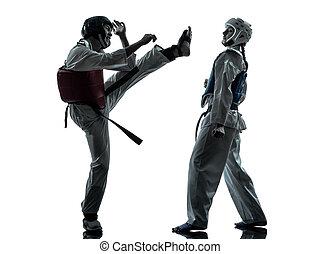 taekwondo, künste, frau, silhouette, paar, karate, kriegerisch, mann