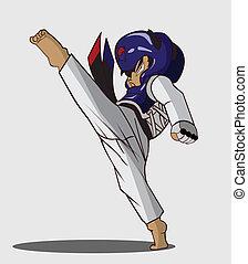 taekwondo, kunst, krijgshaftig