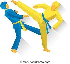 taekwondo, kunsten, fighters., twee, competitie, krijgshaftig