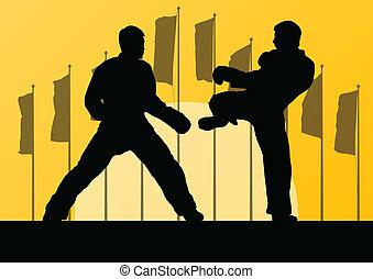 taekwondo, kunsten, gevecht, krijgshaftig, vechters, vecht, schoppen, silhouettes, vector, illustratie, achtergrond, actief, sportende