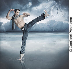 taekwondo, luchador, entrenamiento, en, el, naturaleza