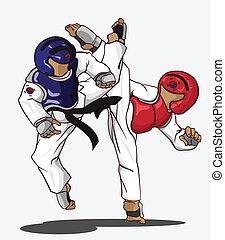 taekwondo, művészet, harcias