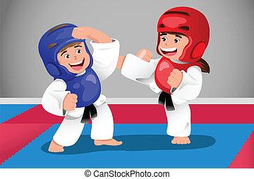 taekwondo, niños, practicar