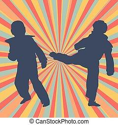 taekwondo, opleiding, abstract, vechten, vector, kinderen