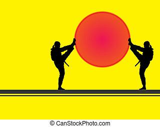 taekwondo-silhouette - two taekwondo fighter women...