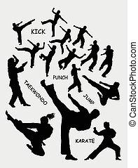 taekwondo, siluetas, arte, marcial