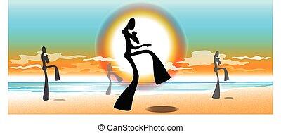 taekwondo, spiaggia, alba