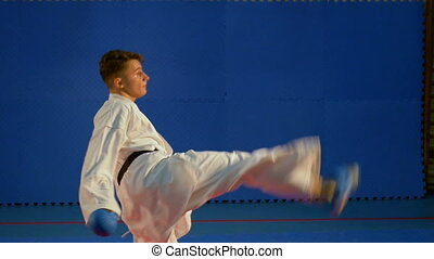 Taekwondo training for competition at the gym