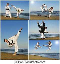 taekwondo - training of aikidofor young men on the beach
