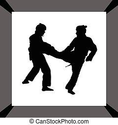 taekwondo, vrouw, vector, silhouette