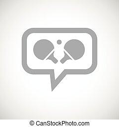 tafel, boodschap, tennis, grijze , pictogram