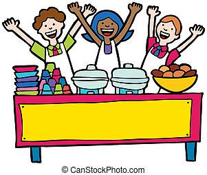 tafel, buffet, dienst