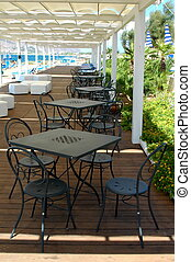tafel, buiten, restaurant