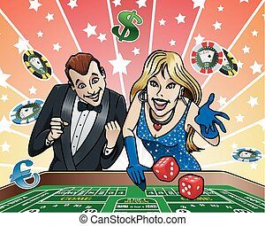 tafel, casino, dobbelsteen
