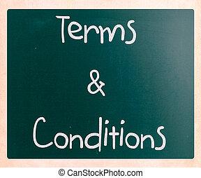 "&, tafel, conditions"", tafelkreide, ""terms, weißes, handgeschrieben"