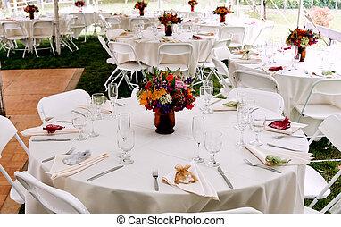tafel, decor, zich verbeelden, trouwfeest