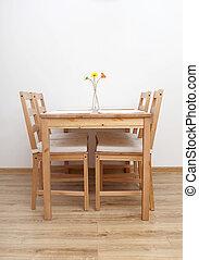tafel, dinning, room., stoelen, lege
