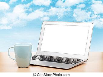 tafel, draagbare computer, blank lichten door, kop