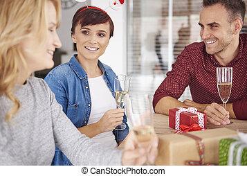 tafel, everyone, kerstmis, zittende