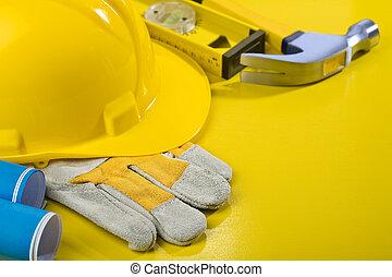tafel, gereedschap, gele, werkende , samenstelling