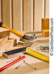 tafel, gereedschap, samenstelling, werkende
