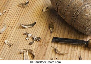 tafel, hout, schrijnwerker, gereedschap, achtergrond