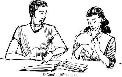 tafel, kerel, boek, lezende , meisje