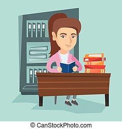 tafel, lezende , student, book., zittende