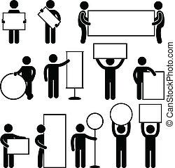 tafel, mann, banner, leerer , leer