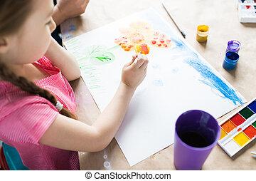tafel, meisje, tekening