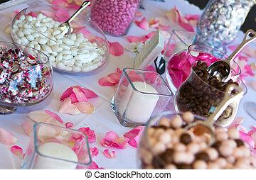 tafel., ontvangst, versuikeren, trouwfeest