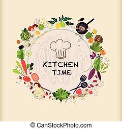 tafel, ontwerp, het koken, keuken, plat